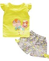 Ragazze Top + Floreale Pantaloncini,Yanhoo Bambino piccolo bambini Bambino Ragazza lecca-lecca Maglietta Pantaloni attrezzatura Abiti Impostato