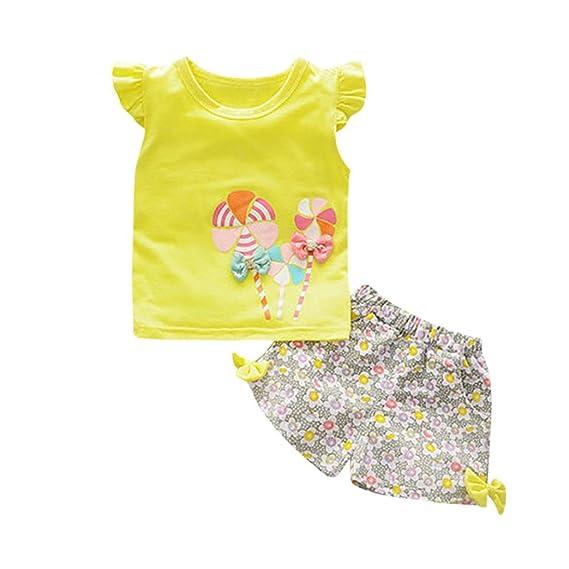 b1f390ac Fossen Bebe Niña Camiseta Sin Mangas de Lollipops y Pantalones Cortos  Florales Conjunto de Ropa Verano: Amazon.es: Ropa y accesorios