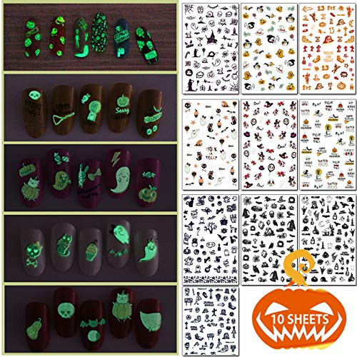 Awesome Halloween Nail Designs (TailaiMei 10 Sheets Fluorescent Halloween Nail Decals Stickers, Self-adhesive DIY Nail Art Tips Stencil for Women Girls Kids)