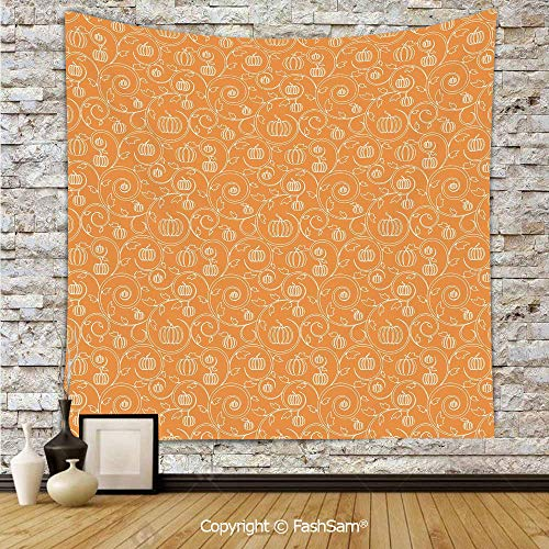 FashSam Polyester Tapestry Wall Pattern with Pumpkin Leaves and Swirls on Orange Backdrop Halloween Inspired Hanging Printed Home Decor(W59xL78) ()