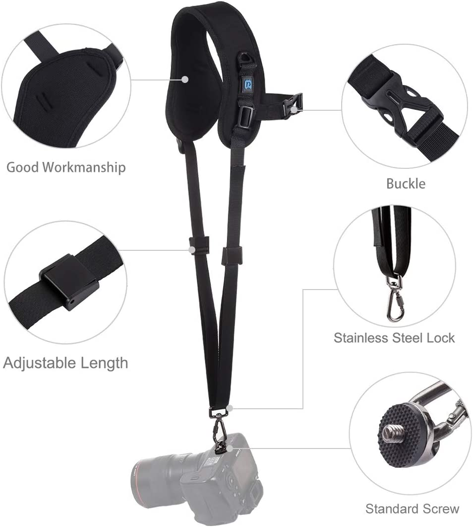 XIAOMIN Quick Release Anti-Slip Soft Pad Nylon Breathable Curved Camera Strap with Metal Hook for SLR//DSLR Cameras Premium Material