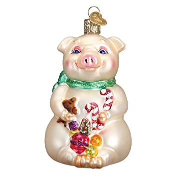 Amazon.com: Old World Christmas Lester The Pig Glass Blown ...
