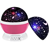 Night Light for Kids, DCAUT Rotating Moon Stars Projector Night Lamp with Colour Change, Novel Bedside Lamp for Baby Children's Bedroom