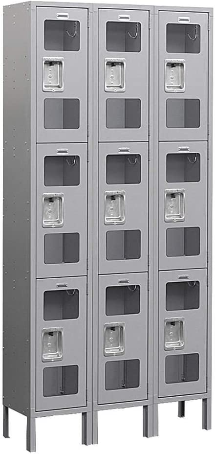 Salsbury Industries Assembled 2-Tier Extra Wide Standard Metal Locker with One Wide Storage Unit 6-Feet High by 15-Inch Deep Blue