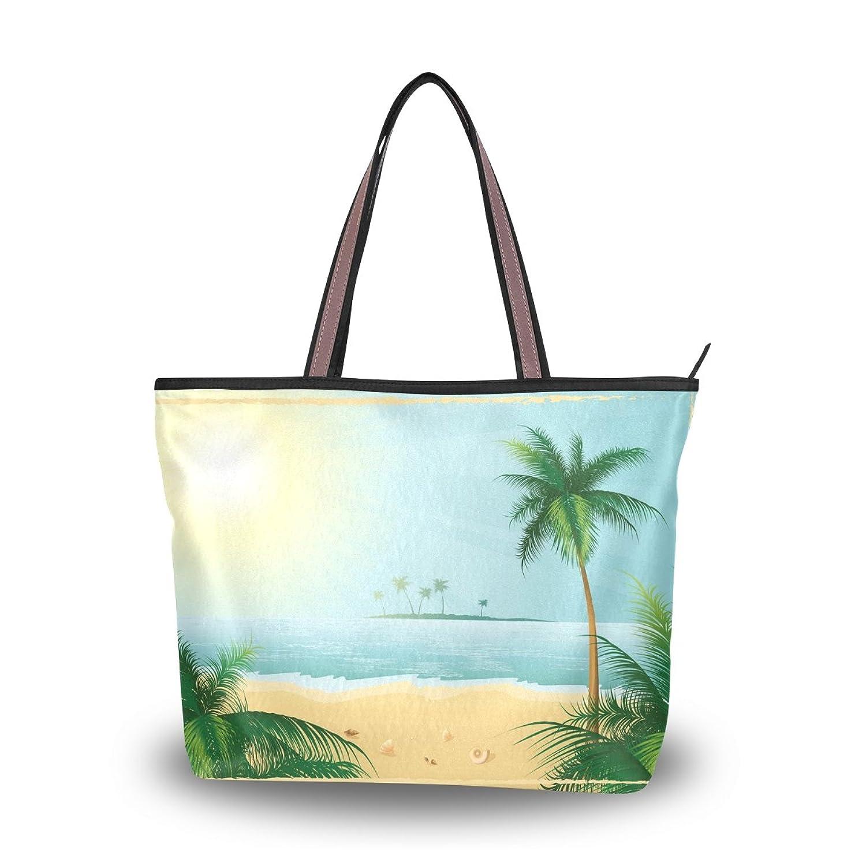 Women Large Handbag Shoulder Bags,Hawaii Sea Beach Coconut Trees ,Tote Bag