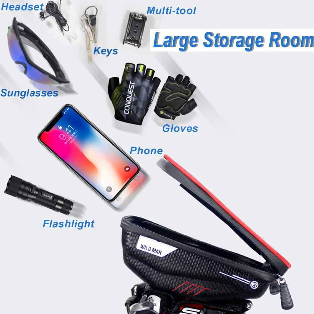 Negro Bolsa Manillar Bici Impermeable Bolsa Tubo Bicicleta con Pantalla T/áctil Bolsa Marco Bicicleta Funda Movil Bici para iPhone XS MAX//XR//X//8Plus Samsung S9//S8 hasta 6,5 Smartphone