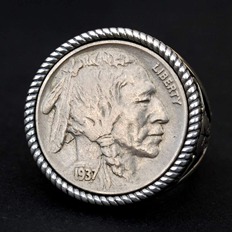 "AU QUALITY 1937 Indian head Buffalo Nickel Pendant on 18/"" 925 Silver Snake Chain"