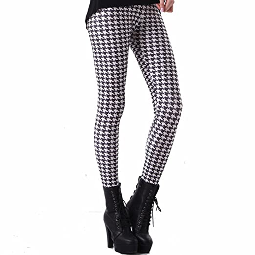 Women Fashion Black And White Houndstooth Leggings At Amazon Women S