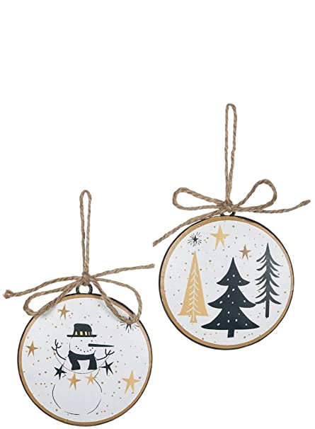 sullivans snowman and tree metal disc christmas ornaments set of 12 in 2 styles - Black And Gold Christmas Ornaments
