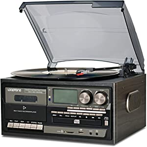 LoopTone Vinyl Record Player 9 in 1 3 Speed Bluetooth Vintage Turntable CD Cassette Player AM/FM Radio USB Recorder Aux-in RCA Line-Out (Black Edition)