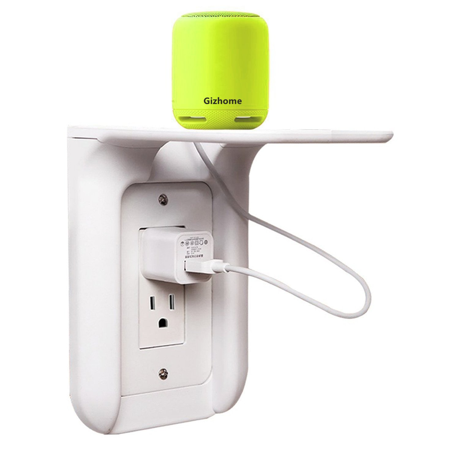 Gizhome Wall Outlet Shelf Power Perch, Works with Standard Vertical Duplex/Decor Outlets, Charging Shelf for Devices up to 7lbs, Easy Installation, White - 1 Pack