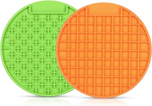 JASGOOD Pet Lick Mat, Slow Feeder Lick Mat-Boredom Distraction-Anxiety Relief Peanut Butter Lick Pad-Promote Health/Feeder for Fun Licking Mat for Dogs/Cats (A-Green+Orange)