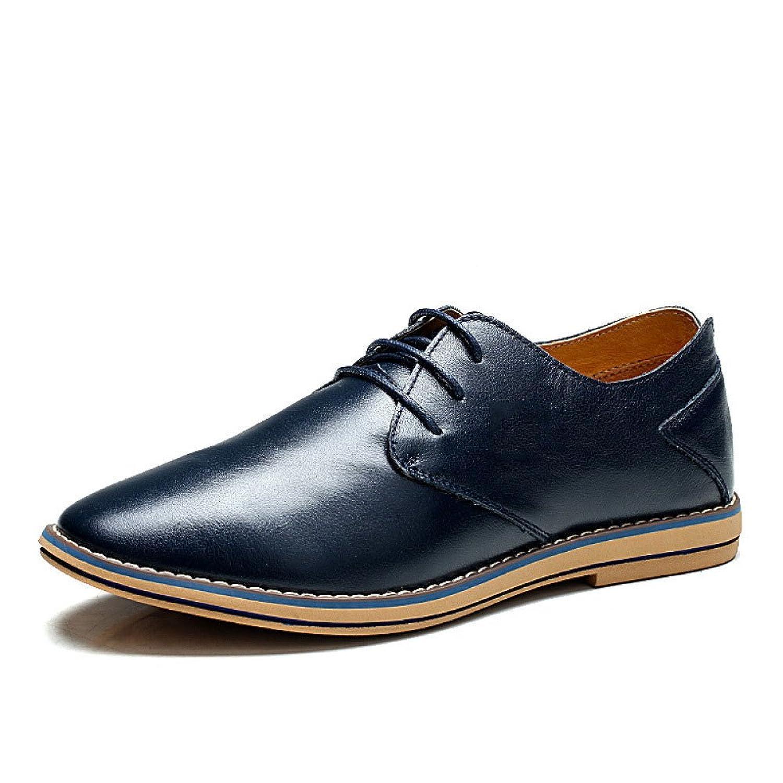 LEDLFIE Chaussures en Cuir pour Hommes,Black-38