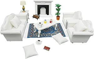 1:12 Dollhouse Furniture - Deluxe Living Room Play Set 19pieces - Suitable for Dolls Above 3 inches to 6 inches (White)