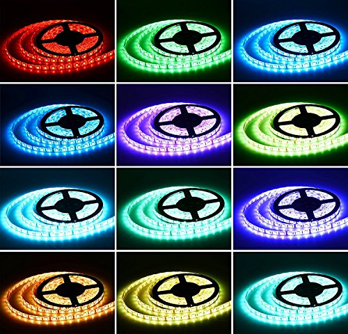 Sanwo 16.5ft Flexible RGB LED Strip Lights, Waterproof IP65, 300 Unites LEDs, 5050 SMD LED Ribbon with 12V Power Supply Adapter + 44Key Remote Controller (5050-RGB) by Sanwo (Image #5)