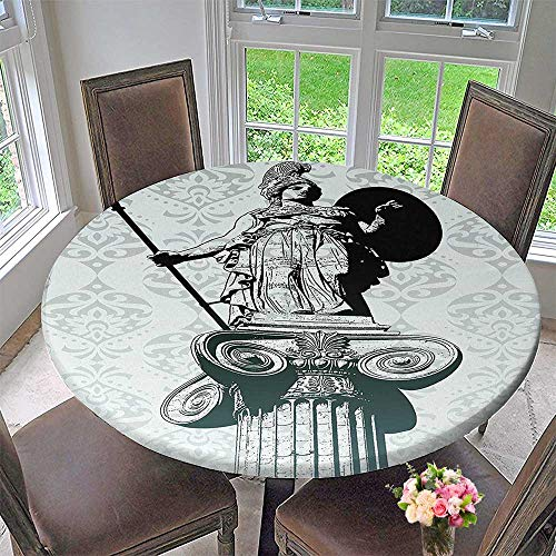 Round Table Tablecloth Statue of Athena on Baroque Background Greek Mythology Hellenistic for Wedding Restaurant Party 31.5