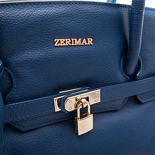 Zerimar Borsa in Pelle da Donna Morbida | Borsa da Donna Grande | Borsa a Spalla Donna | Colore: Taupe | Misure: 38x30x10 blu