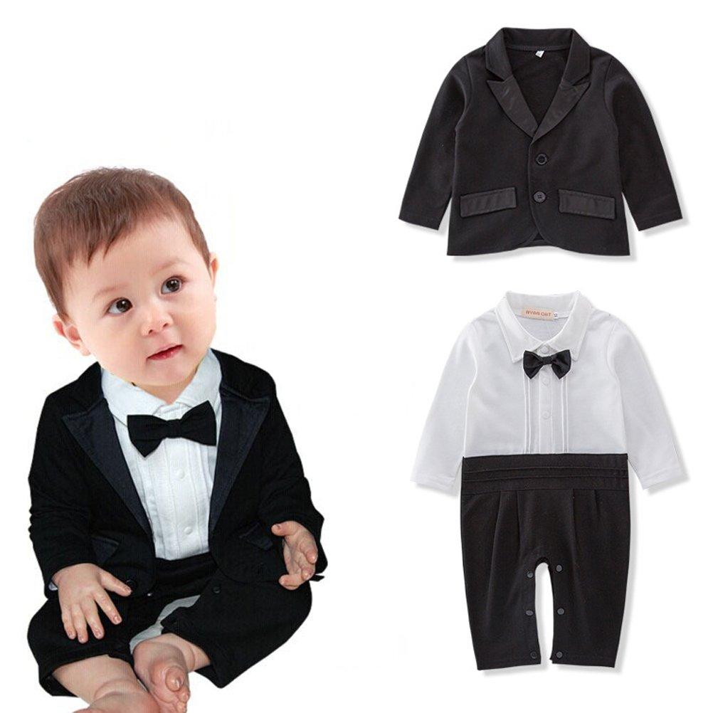 ARAUS Neonato Completini Battesimo di Nozze Suits Smoking Tutine Tuxedo Outfit Con Farfallino 5630P10
