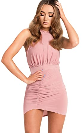 d94235932a Ikrush Womens Brendi Slinky Backless Bodycon Dress Rose  Amazon.co.uk   Clothing
