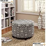 Round Storage Ottoman Medallion, White Black Large Tufted Round Ottoman Features a Medallion All Over Sleek Contemporary Look, White Black Medallion Round Ottoman Is the Perfect Footstool