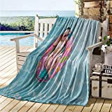 maisi Baby Throw Blanket Nine Days Old Girl Sleeping on Tiny Inflatable Ring Crocheted Bikini Sunglasses Blanket for Sofa Couch Bed Tan Multicolor
