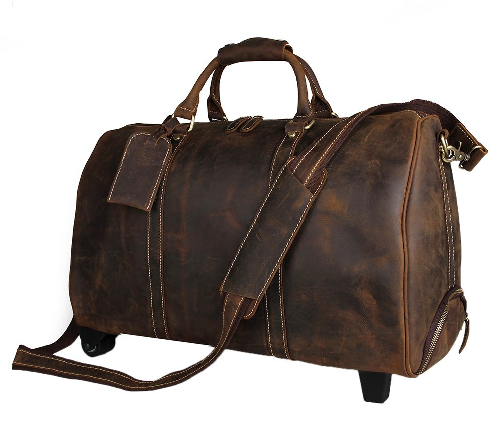 Genda 2Archer Men Leather Wheeled Travel Duffle Weekend Bag Carry On Luggage (Dark Brown)