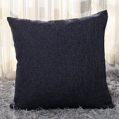 Chaowei Chair Cushion Covers Supersoft Linen Square Throw Toss Pillow Cushion Cover for Sofa 18 x 18 Inch No Pillow Insert (black)