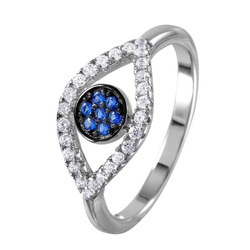 Simulated Sapphire And Clear Evil Eye Ring Rhodium Plated Sterling Silver
