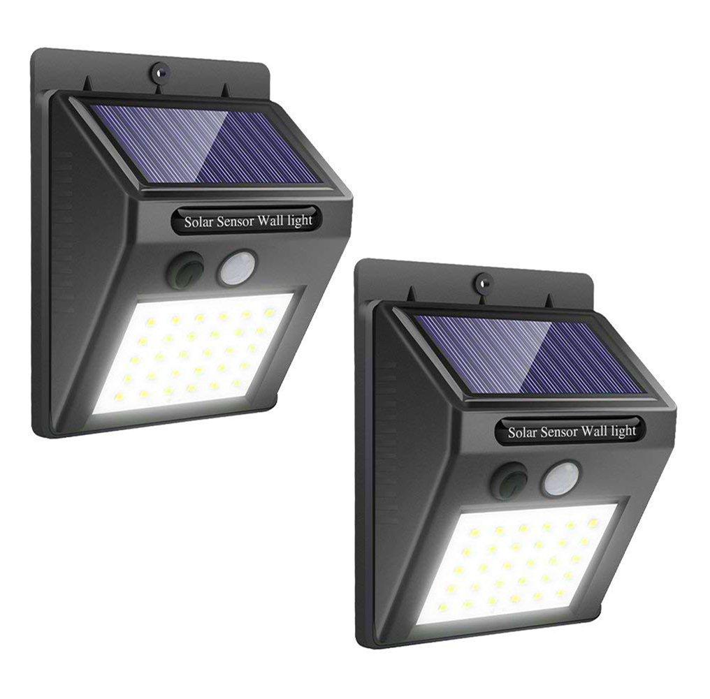 Solar Lights Outdoor Motion Sensor - Upgraded 30 LED Waterproof Wireless Security Light for Yard Garage Deck Garden, 2 Pack