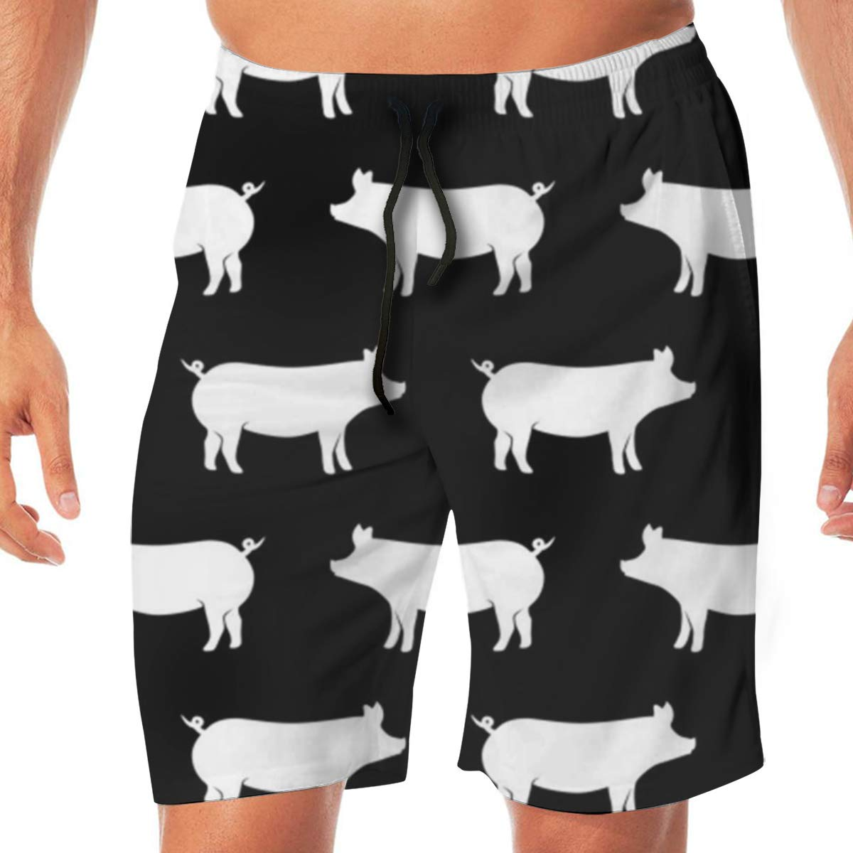 Black Casual Mens Swim Trunks Quick Dry Printed Beach Shorts Summer Boardshorts Bathing Suits with Drawstring TR2YU7YT Just Pigs