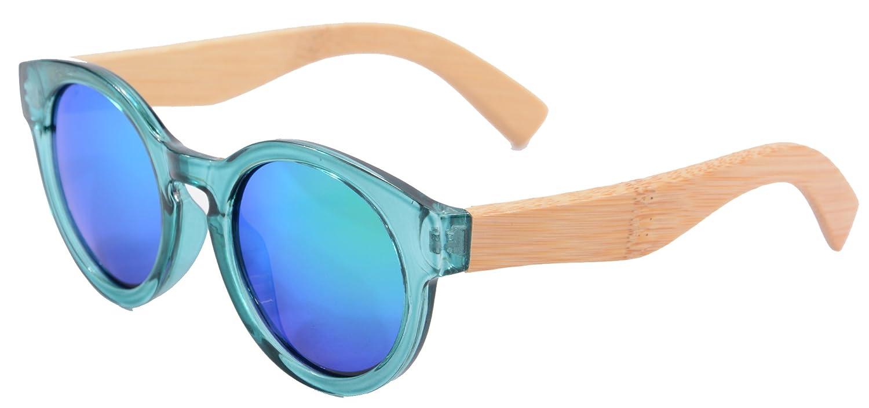 Cadre Corne Rimmed Round Lunettes de Soleil en Bois Polarises UV400 Flash Objectif Miroir Sunglasses-5008(c2) Xi9L4H