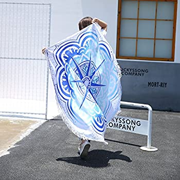 Popular Mandala Round beach cover, Summer Beach Must-have, Thin Cotton Lightweight Beach Towel, Round Yoga Mat, for light sun protection(star)