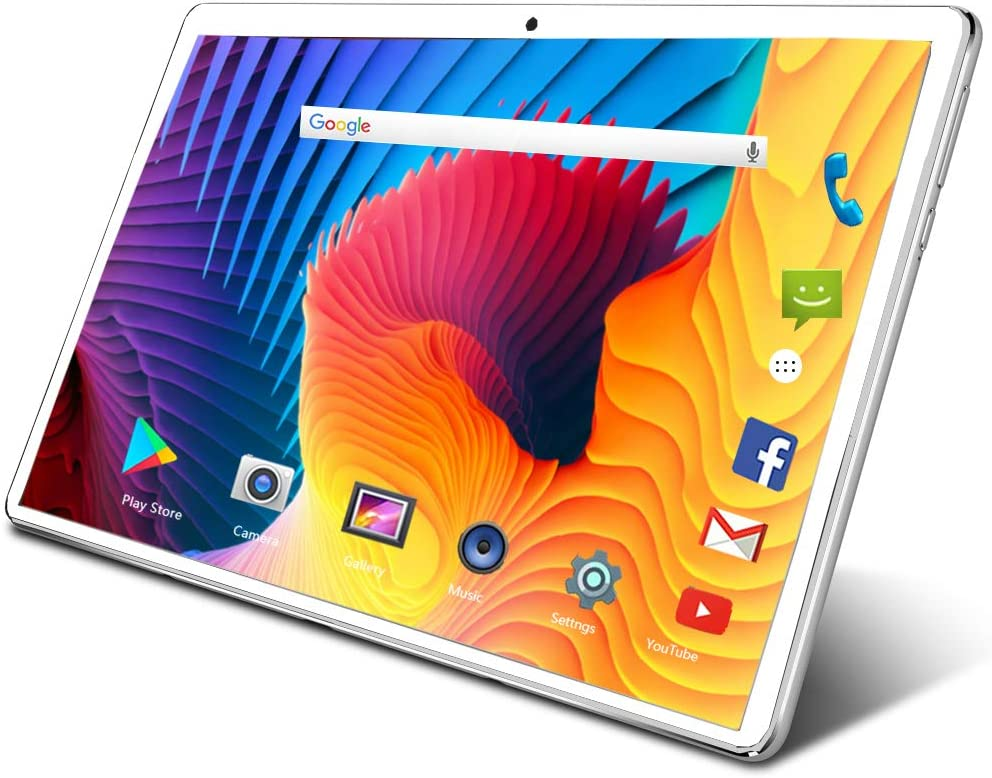 Tablet 10.1 inch Android Tablet with 32GB Storage, 3G Phone Tablets & Dual Sim Card & 5MP Dual Camera, Quad Core Processor, 1280x800 IPS HD Display,GPS,FM,Bluetooth(Silver)
