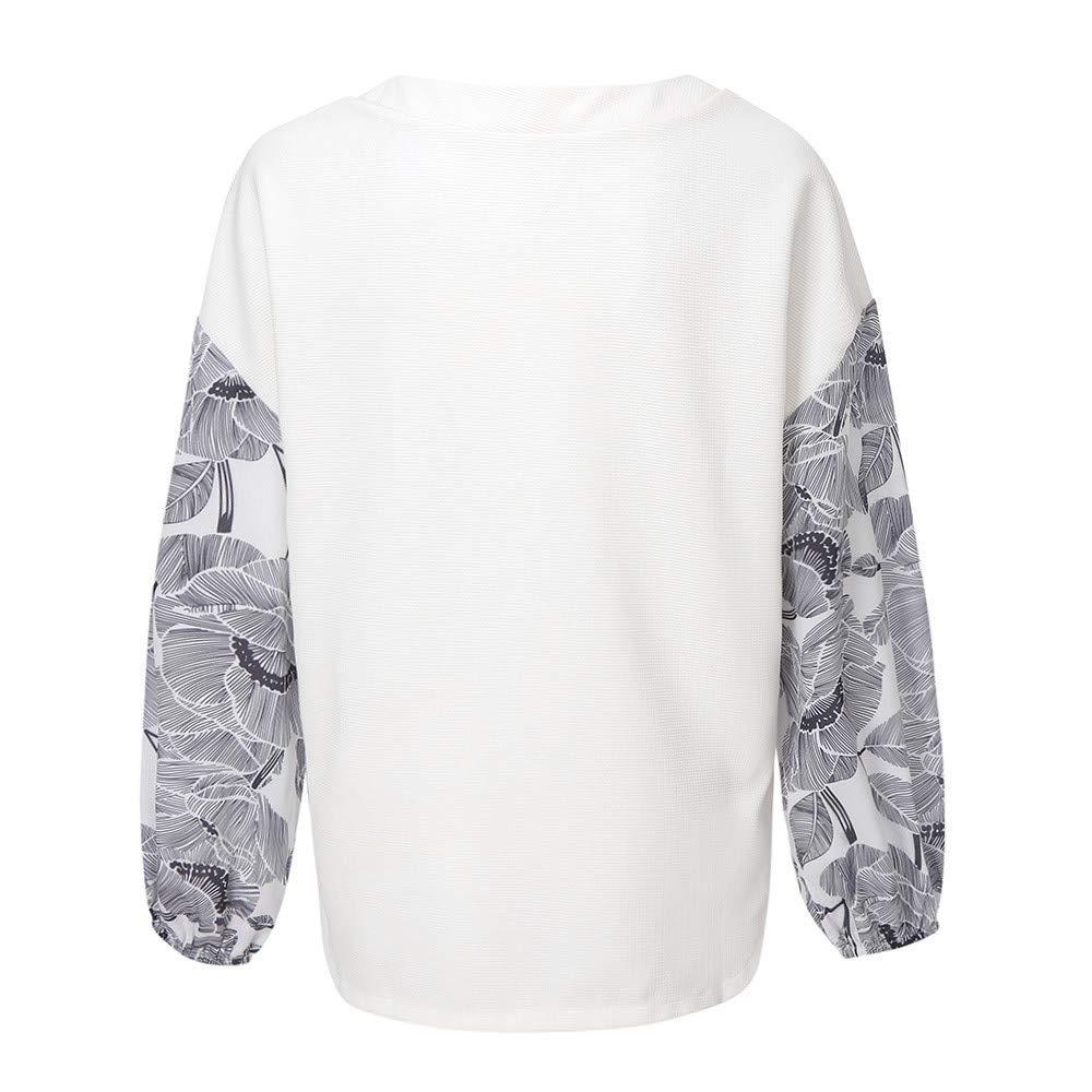 Manadlian_Manga larga para mujer Camisa de Mujer, Imprimir Blusa de Jersey Camisas Casuales Camisa de Entrenamiento: Amazon.es: Ropa y accesorios