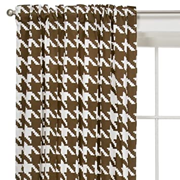 Houndstooth White Chocolate Curtain Panel