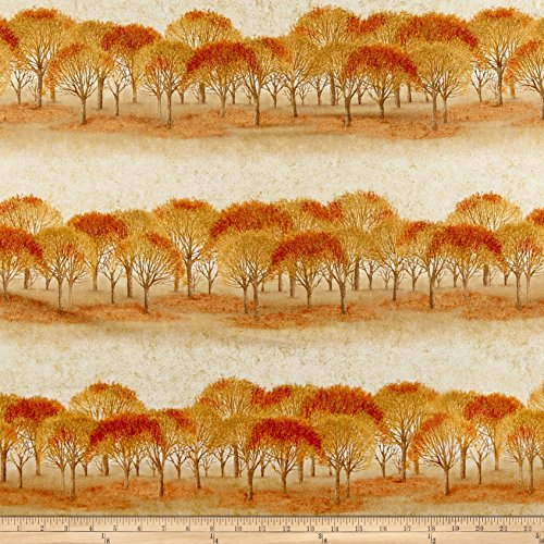 Robert Kaufman Sound of The Woods Trees Rows Autumn Fabric by The Yard