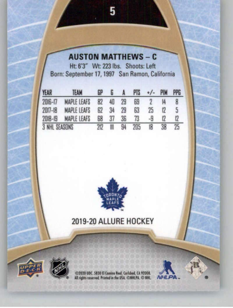 2019-20 Upper Deck Allure #5 Auston Matthews Toronto Maple Leafs NHL Hockey Trading Card