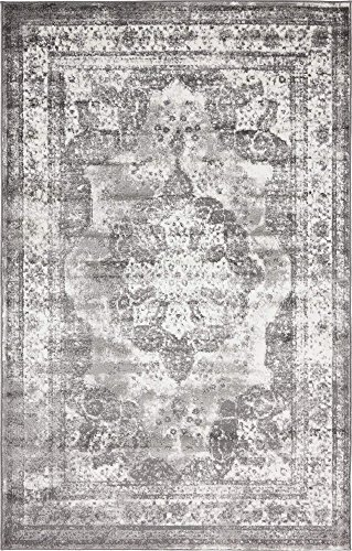 Area Rug, 5' x 8' Rectangle, Gray ()