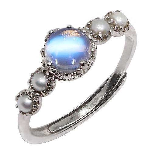 fcdc54aaa9fa Anillo de plata de ley con perlas de agua dulce y piedra lunar.  Amazon.es   Joyería