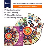 Kids Puzzle, Teaching Aids with Time and Counting Learning Design for Develop Children's Intellectual, Cardboard Puzzles Best for girls and boys Birthday Presents or Christmas gift