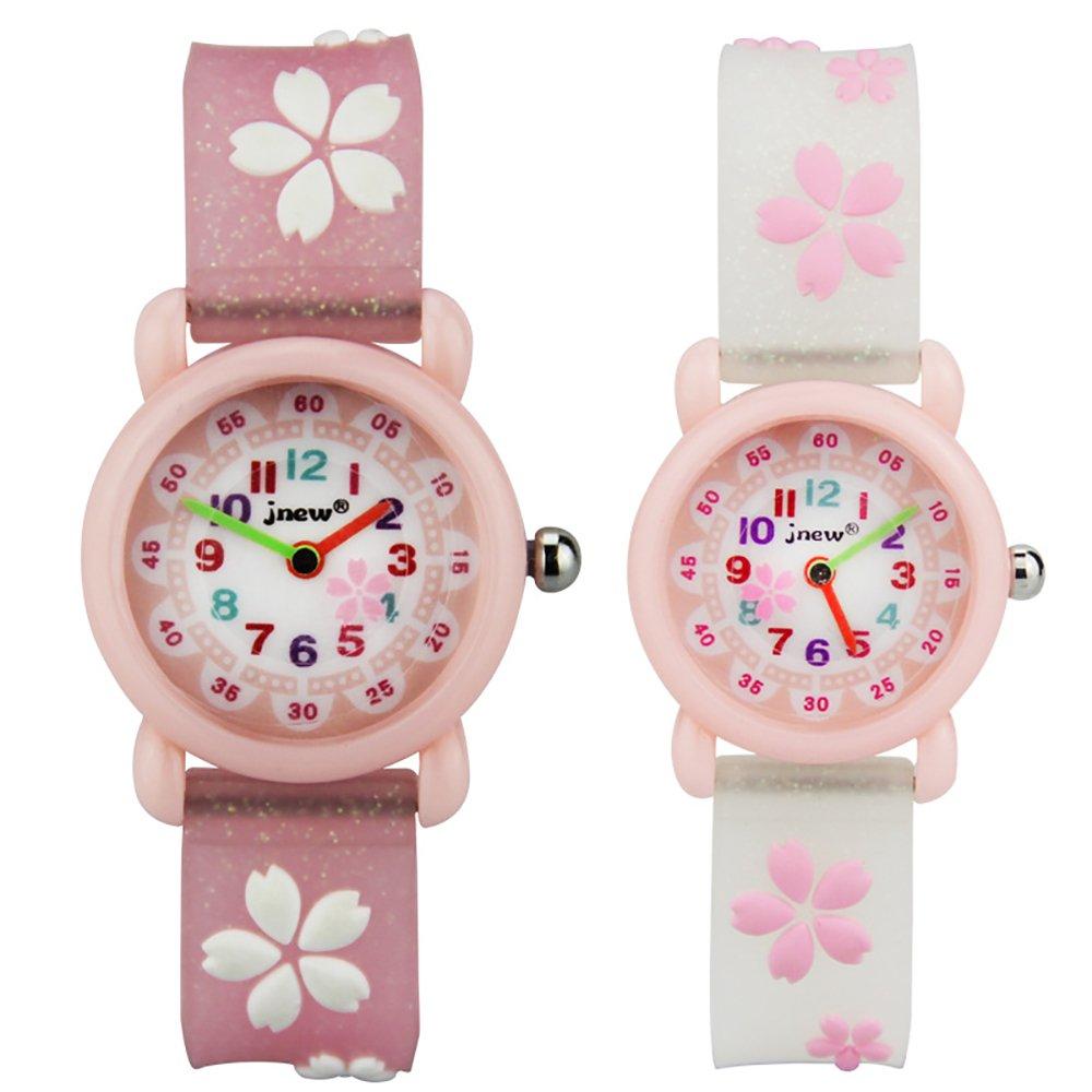 TIDOO Kids Waterproof Quartz Watches with Cute Cartoon Florals for Little Girls Pupils
