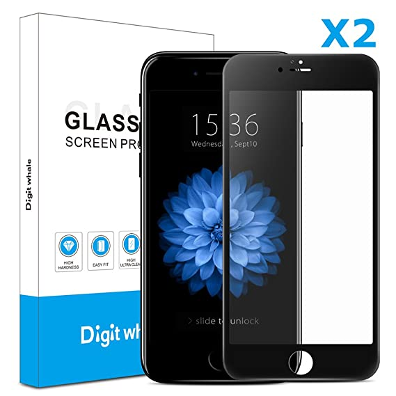 buy popular eb920 58cf2 2-Pack iPhone 6s Plus 6 Plus Screen Protector, DIGITWHALE 3D Full Curve  Soft Edge Tempered Glass Screen Protector Film for iPhone 6S Plus and  iPhone 6 ...