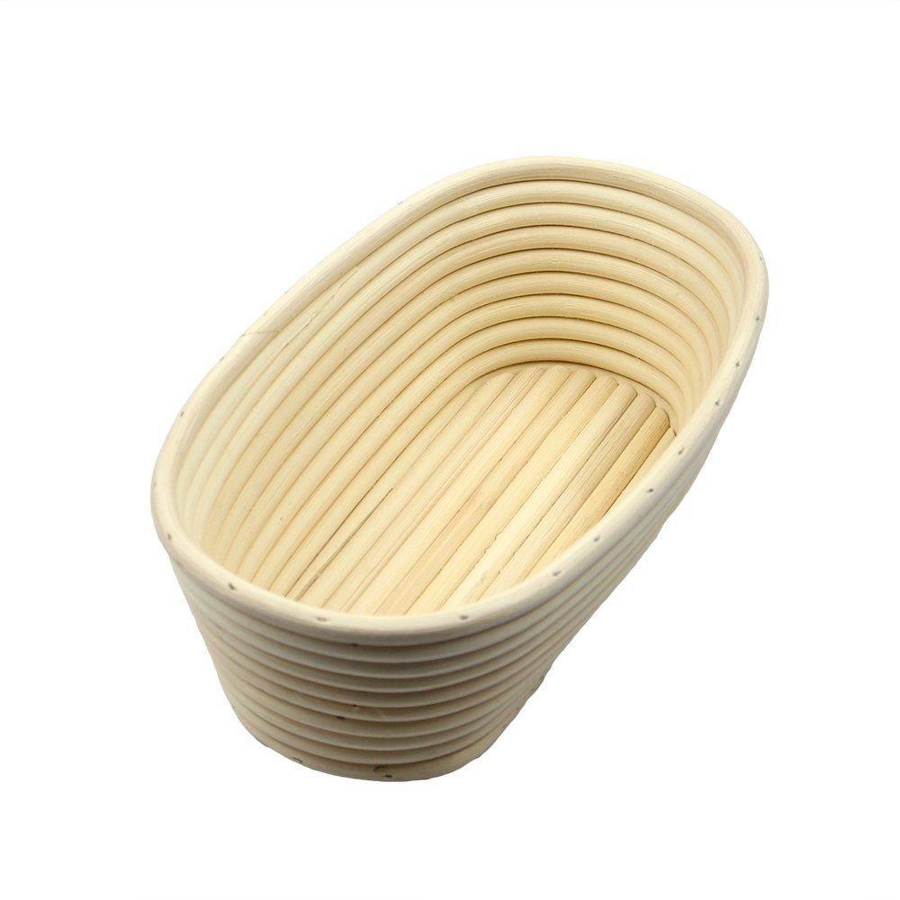 2 Pcs Oval 12 inch Banneton Brotform Bread Proofing Basket Natural Rattan Cane Handmade & Linen Liner Cloth by Jranter (Image #3)