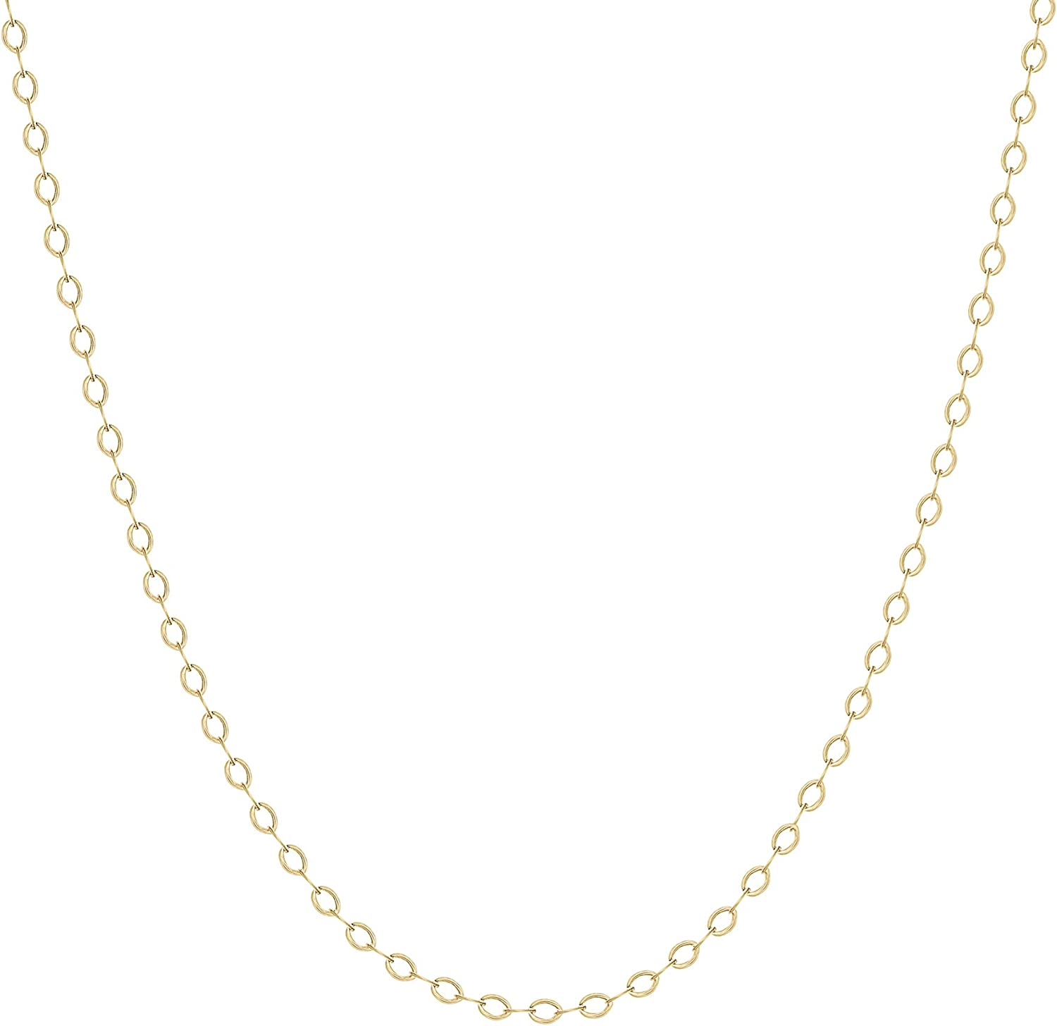 TousiAttar 14k Rose Gold-Filled Flat Cable Chain Necklace Pendant 16-18 Inches 1.3 MM Body Jewelry