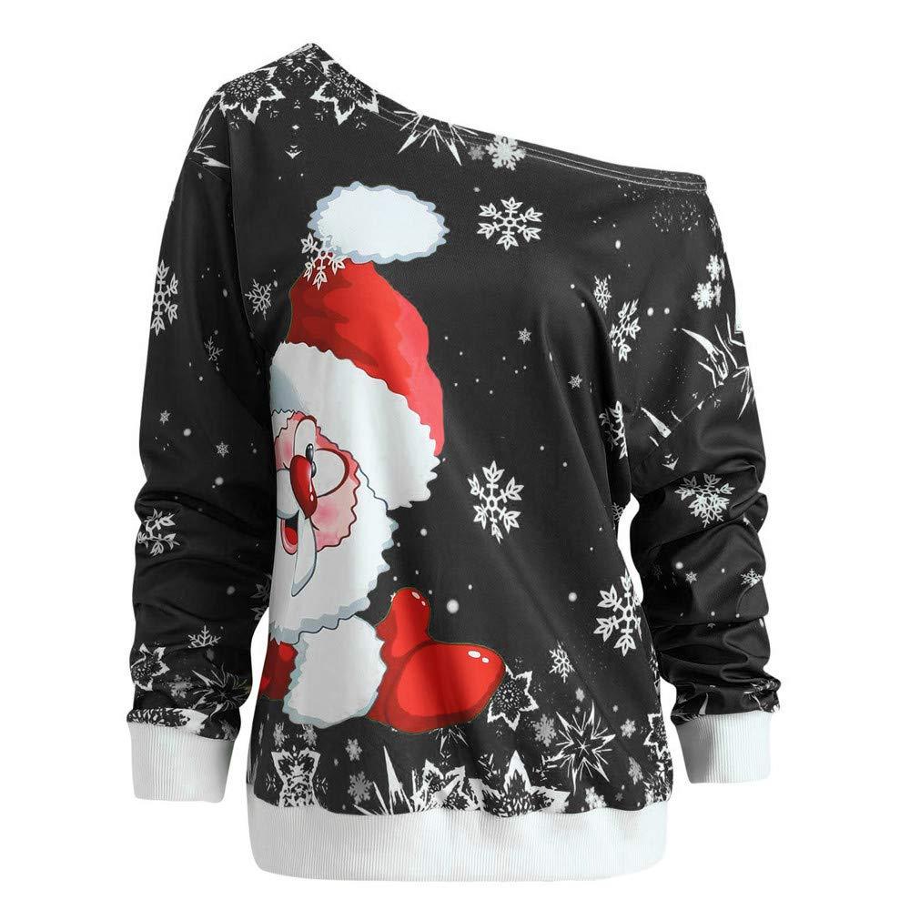 Elecenty Moda Donna Buon Natale, Blusa in felpa con colletto sdoppiato stampato Babbo Natale