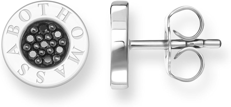 Thomas Sabo Sterling Silver Classic - Pendientes de plata de ley con circonita con cierre de mariposa a presión