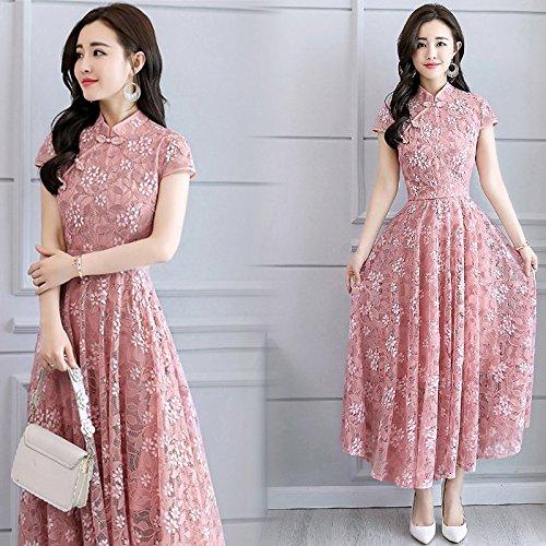Floral De La Boucle CheongsamRobe DentelleLong Style Rétro En l pink Robes Migmv nbsp;amélioration Jupe H9IDE2