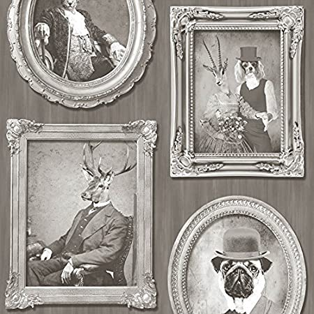 Muriva Animals in Frames Dogs Stags Tiger Photo Motif Vinyl ...