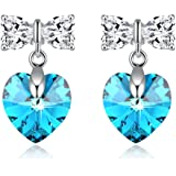 Heart Stud Earrings Crstal Jewelry with Swarovski Crystal Gifts for Her 2 Colors