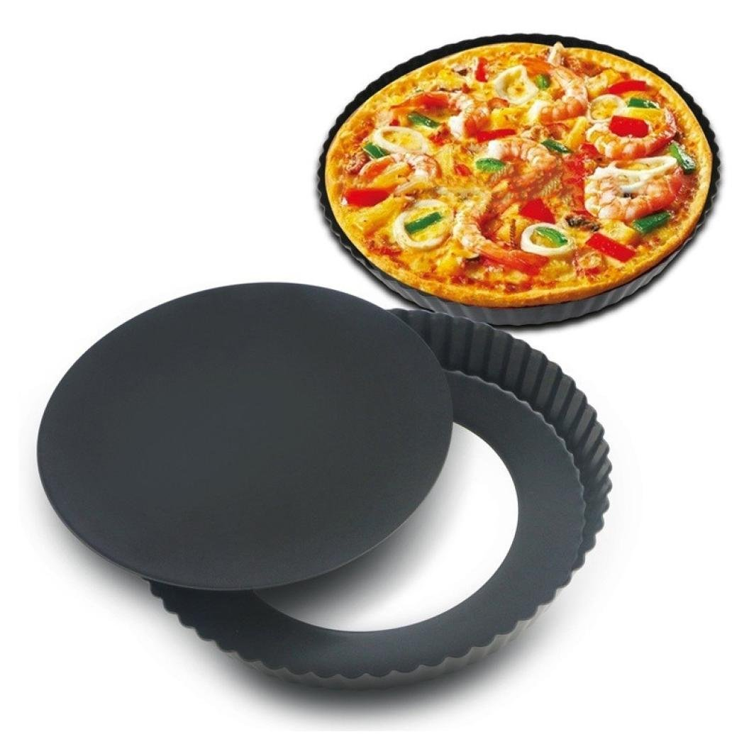 Longay 9 Inch Non-Stick Round Loose Bottom Cake Mold Quiche Pan Chrysanthemum Pie And Cake Mould Pizza Pan (L)